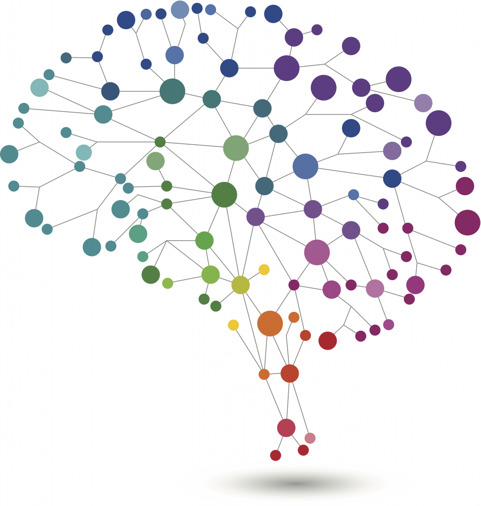 An illustration resembling a brain consisting of colourful circles of varying sizes connected by lines