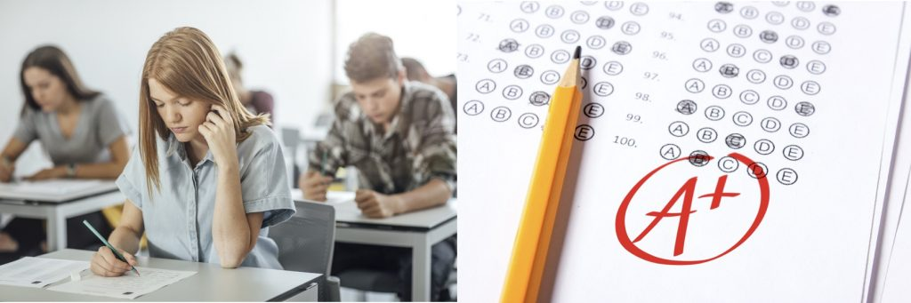 Two photos side by side, on left show someone looking stressed while taking an exam, on right a close up of a multiple choice answer sheet.