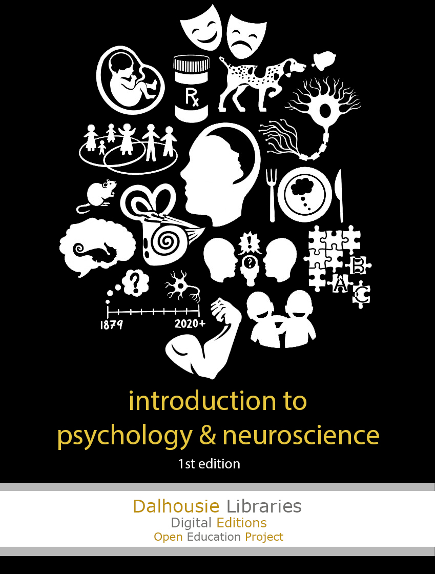 Black background with white illustrations relating to psychology